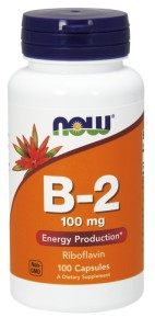 NOW FOODS Witamina B-2 Riboflavin 100mg, 100caps. - Ryboflawina